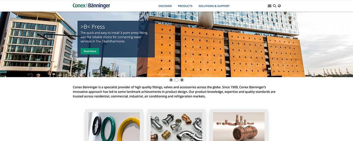 Conex Banninger multilanguage website designed in Burton on trent