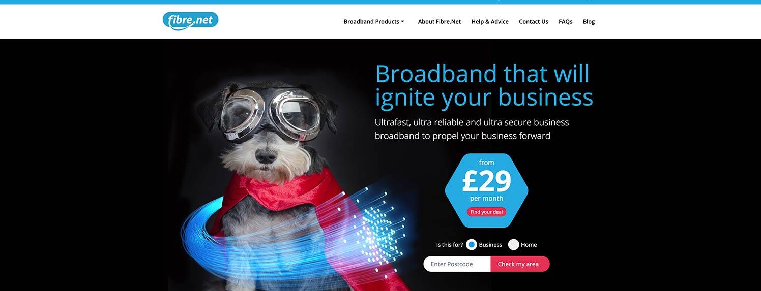 E-commerce website created for Fibrenet in Burton on Trent