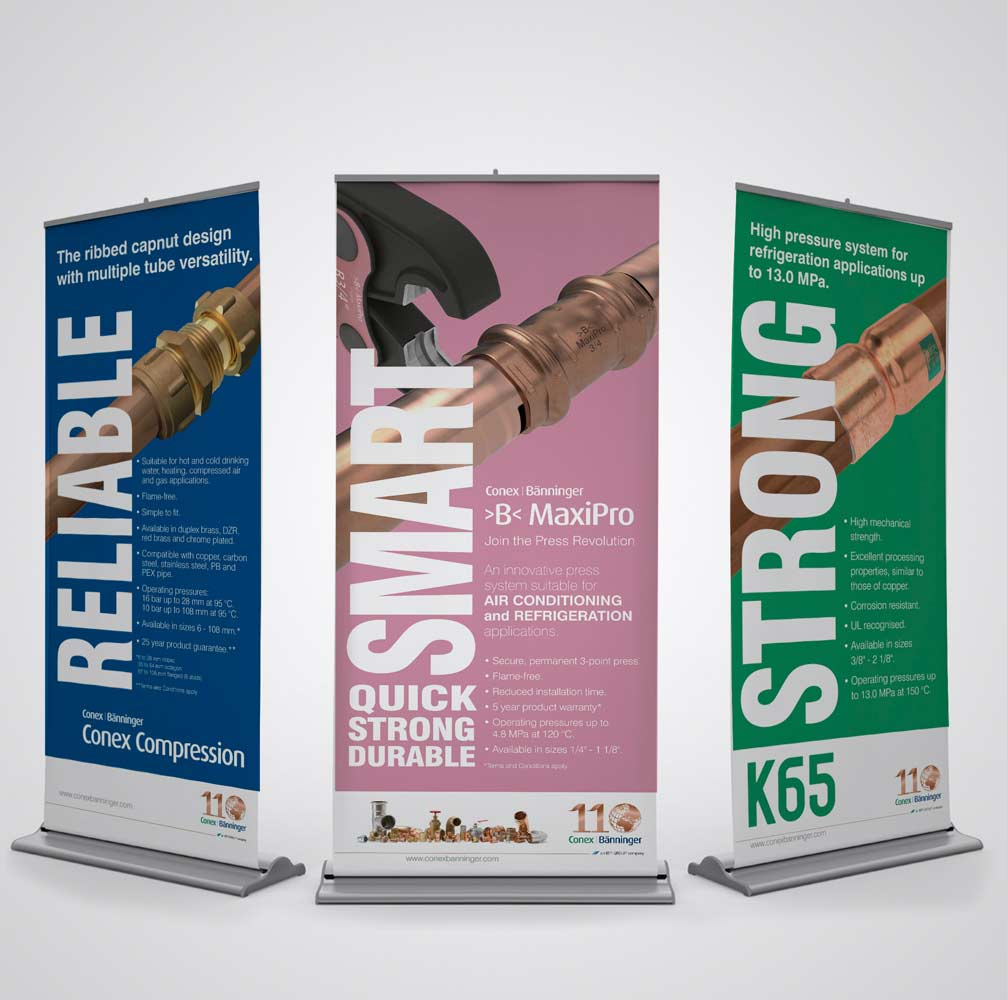 Graphic design for roller banners Burton on Trent